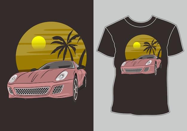 T-shirt d'été voiture de sport moderne sur la plage