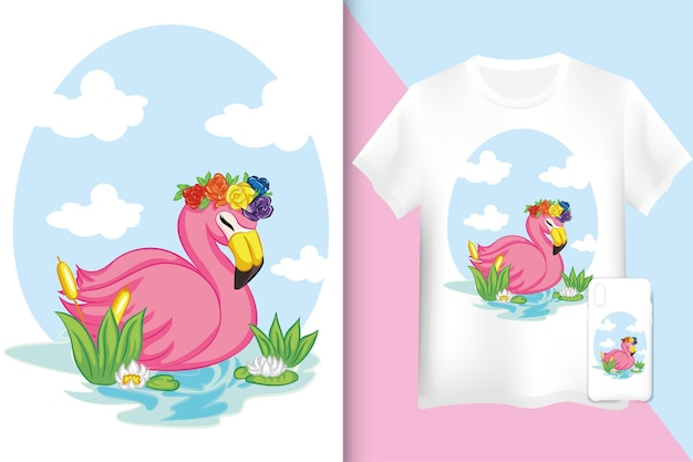 T-shirt et étui de maquette flamingo. flamant rose nageant sur l'illustration de l'eau.