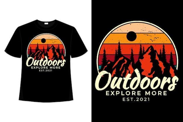 T-shirt à l'extérieur explorez l'illustration vintage rétro de silhouette de style montagne de pin