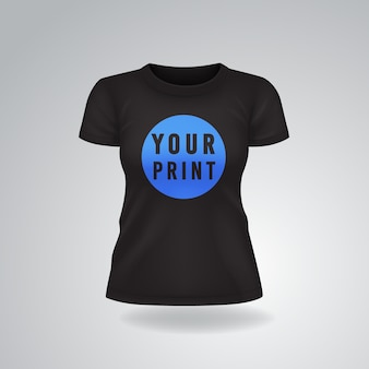 T-shirt femme casual noir à manches courtes maquette