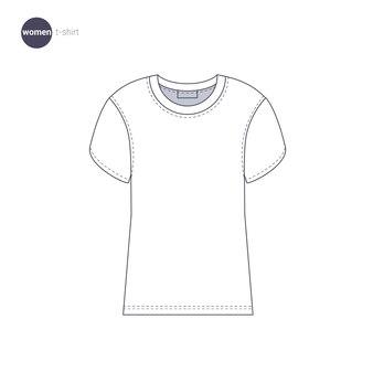 T-shirt femme. style de ligne mince de vêtements.