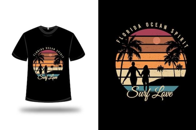 T-shirt floride ocean spirit surf love sur orange et vert