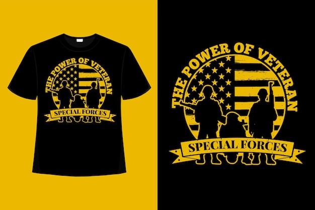 T-shirt forces spéciales soldat puissance vétéran typographie illustration vintage