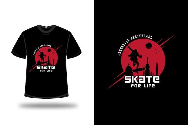 T-shirt freestyle skateboard skate for life couleur rouge et noir