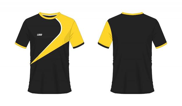 T-shirt gabarit de soccer ou de football jaune et noir pour club sur blanc