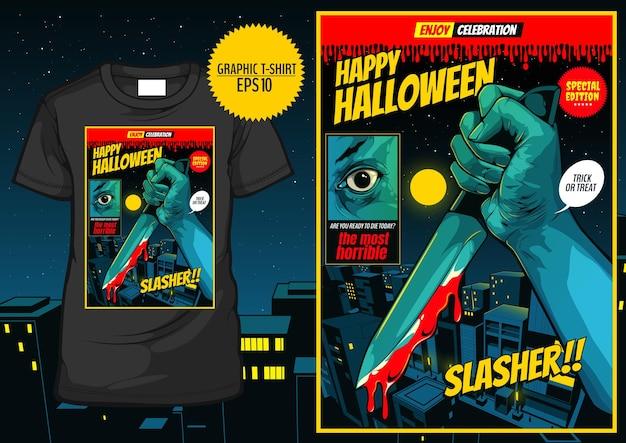 T-shirt graphique halloween, bande dessinée d'horreur, modèle de couverture d'halloween heureux, main tenant un couteau sur fond de ville de nuit.