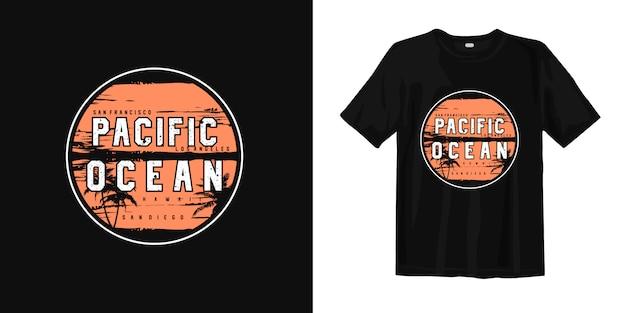 T-shirt graphique de plage d'été de l'océan pacifique