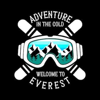 T-shirt Graphique De Snowboard Vecteur Premium