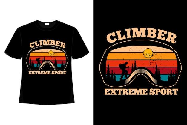 T-shirt grimpeur pin sport extrême rétro