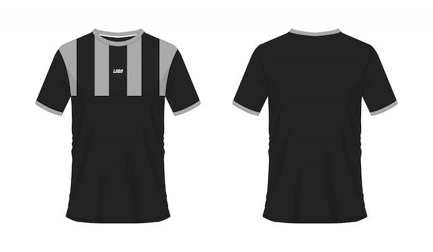 T-shirt gris et noir modèle de football ou de football pour club d'équipe sur fond blanc. sport jersey,