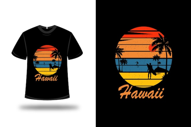 T-shirt hawaii sur orange bleu et jaune