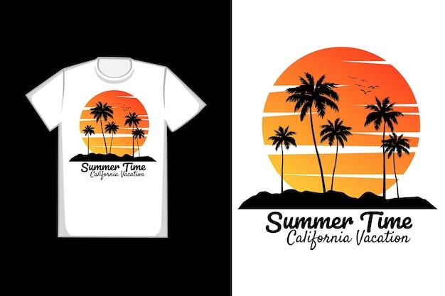 T-shirt heure d'été plage vacances californie beau coucher de soleil vintage