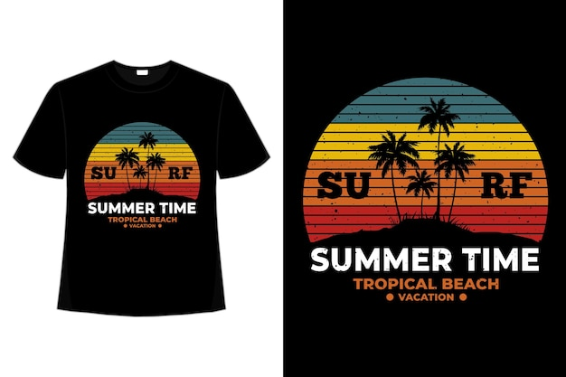 T-shirt heure d'été tropical beach surf style rétro