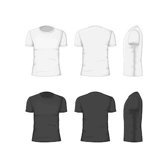 T-shirt homme en coton blanc et noir. vue avant, arrière et latérale.