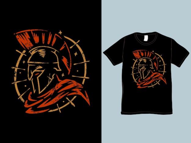 T-shirt Et Illustration Du Guerrier Spartiate Vecteur Premium