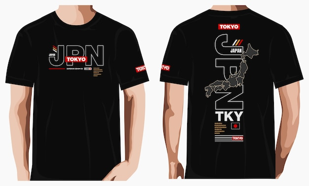 T-shirt d'illustration vectorielle de typographie graphique de tokyo vecteur premium