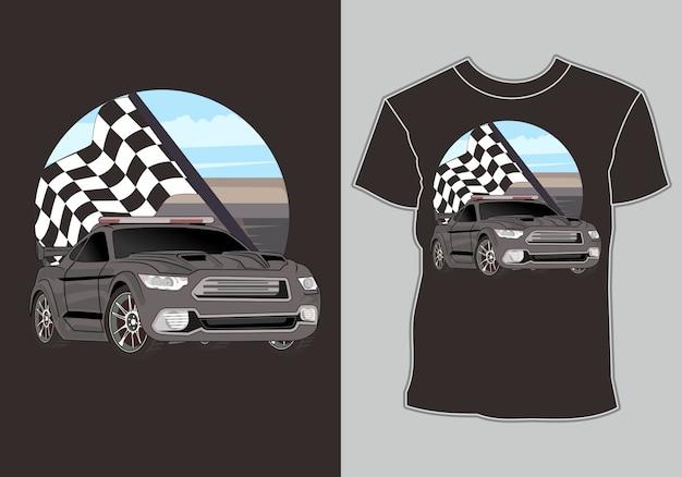 T-shirt, illustration de voiture de course