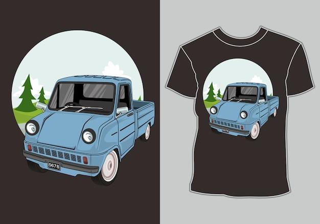 T-shirt avec des illustrations voiture classique, vintage, rétro dans la forêt