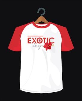 T-shirt imprimé exotique avec fleur dans la conception d'illustration de pince à linge