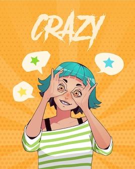 T-shirt imprimé avec une fille excitée drôle montrant des gestes ok avec les deux mains
