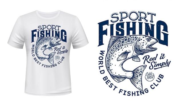T-shirt imprimé poisson saumon, club de pêche sportive