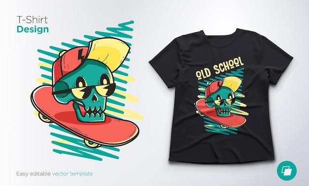 T-shirt imprimé avec squelette drôle