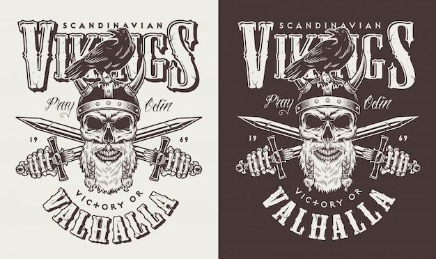 T-shirt imprimé avec tête viking