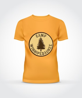 T-shirt jaune conception de camp