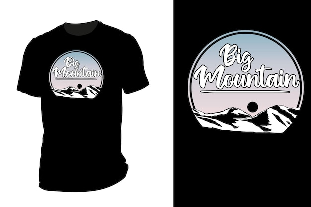 T-shirt maquette silhouette big mountain retro vintage