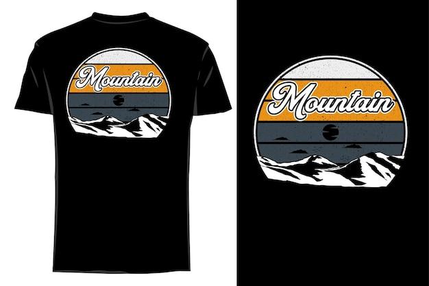 T-shirt maquette silhouette classique montagne rétro vintage