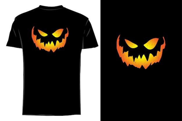 T-shirt maquette silhouette halloween jack o' lanterne visage rétro vintage