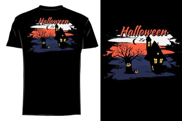 T-shirt maquette silhouette halloween rétro vintage