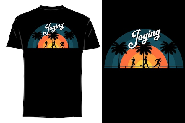 T-shirt maquette silhouette jogging rétro vintage