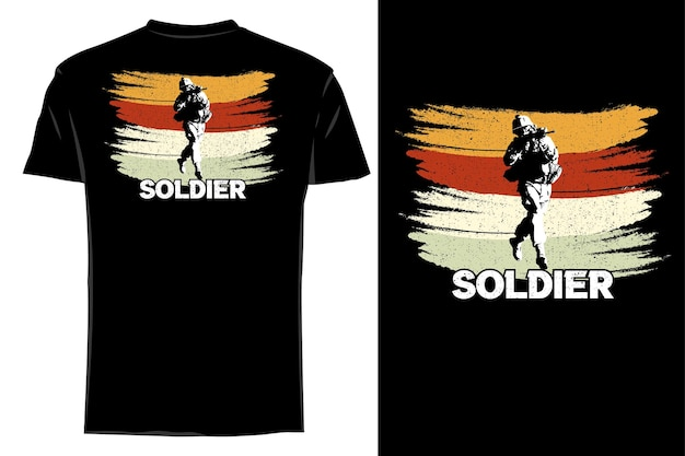 T-shirt Maquette Silhouette Soldat Rétro Vintage Vecteur Premium