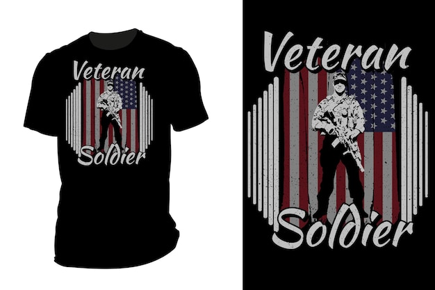 T-shirt maquette silhouette soldat vétéran rétro vintage