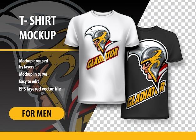 T-shirt maquette avec tête de gladiateur côté, entièrement éditable.