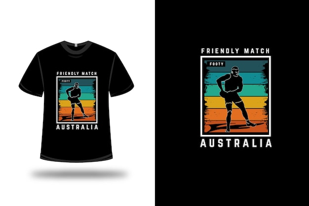 T-shirt match amical footy australia couleur orange jaune et vert