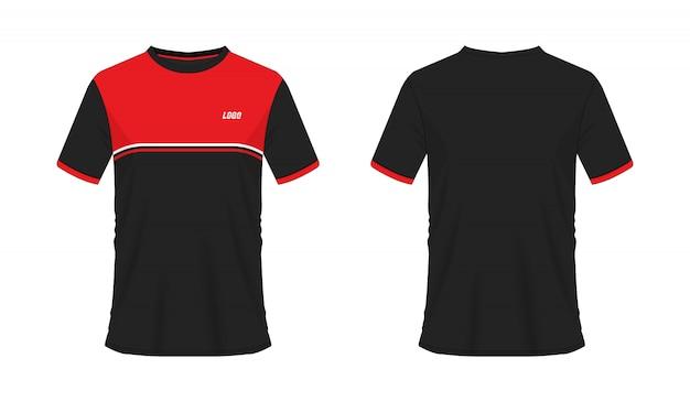 T-shirt modèle de football ou de football rouge et noir pour club sur blanc