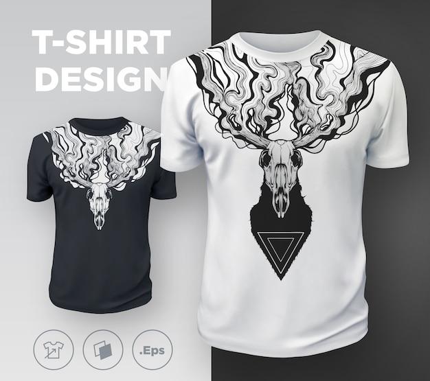 T-shirt moderne abstrait imprimé avec des cerfs morts. .