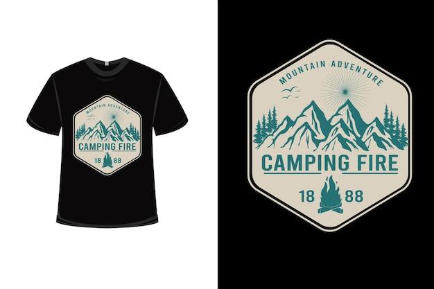 T-shirt montagne aventure camping feu couleur crème et vert