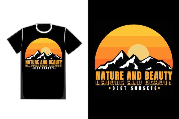 T-shirt montagne coucher de soleil nature beau style vintage rétro