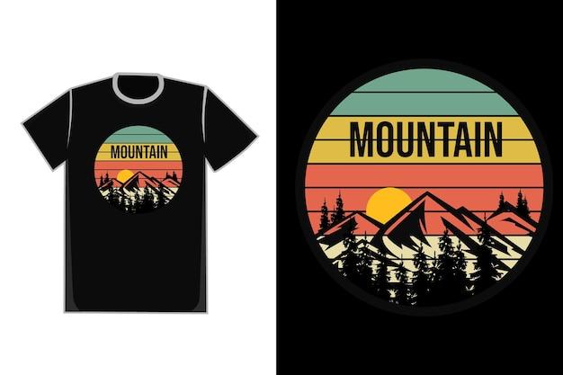 T-shirt montagnes pins couleur bleu jaune rouge et blanc