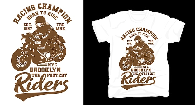 T-shirt moto rétro vintage racing champion riders
