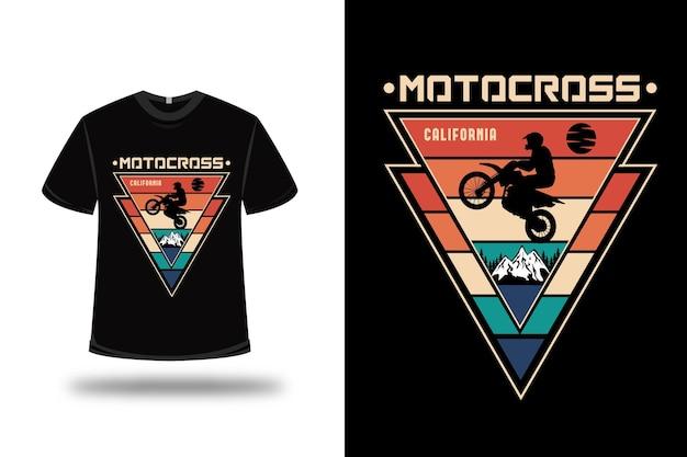 T-shirt motocross california couleur orange crème vert