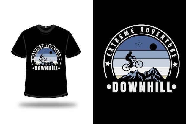 T-shirt mountain extreme adventure downhill couleur bleu et crème