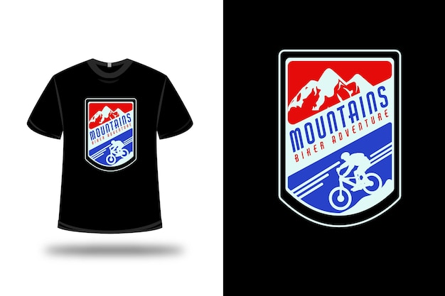 T-shirt mountains biker adventure couleur rouge bleu et bleu clair
