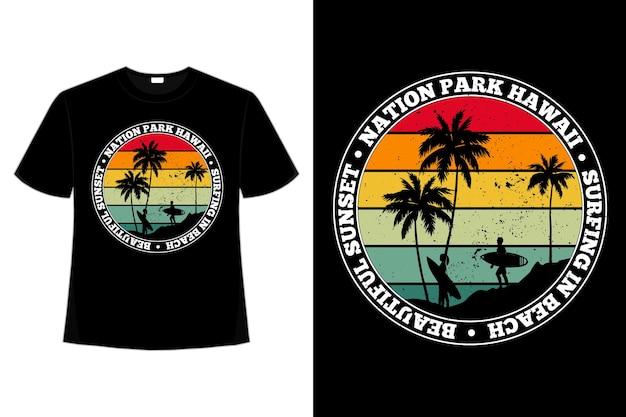 T-shirt nation beach hawaii sunset surf style rétro