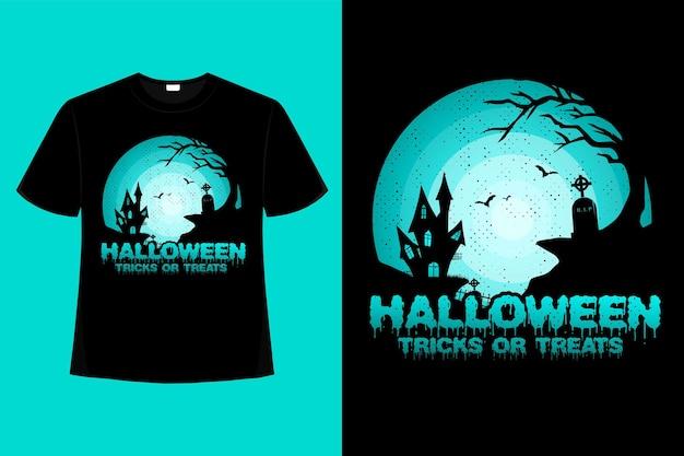 T-shirt nature house halloween trucs ou friandises rétro illustration vintage