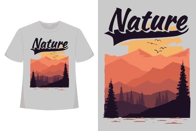 T-shirt nature paysage de montagne plat rétro vintage illustration dessinée à la main
