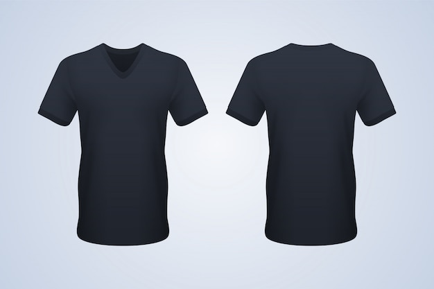 T-shirt noir à col en v et devant